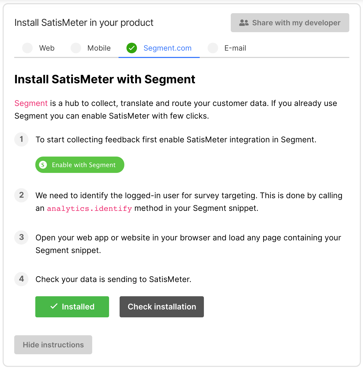 SatisMeter Customer Survey - Segment integration